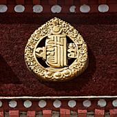 'A gold symbol at the sera monastery;Lhana xizang china'