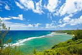 'The pacific ocean along the coastline of an hawaiian island;Hawaii united states of america'