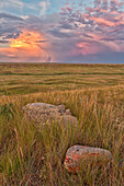 'A large storm cell is seen on the horizon at sunset in grasslands national park;Saskatchewan canada'