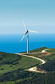 'A wind turbine along the water's edge;Tarifa cadiz andalusia spain'