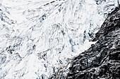 'Seracs in a high contrast angel glacier, jasper national park;Alberta, canada'