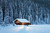 'A snow covered log cabin on a snow covered lakeshore surrounded by evergreen trees at dusk;Lake louise alberta canada'