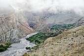'Terraces of nepalese tetang village;Upper mustang nepal'
