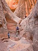 'People exploring a slot canyon;Hanksville utah united states of america'