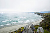 'View of the pacific ocean from the top of a rock during an overcast day;Big sur california united states of america'