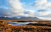 'Early morning over an Irish Bog and lake, looking back across to the twelve Bens and Connemara; Ireland'
