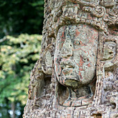 'A Stone Face Carved In A Maya Civilization At Copan Ruins; Copan, Honduras'