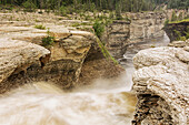 'The Trout River flows over whittaker Falls; Northwest Territories, Canada'