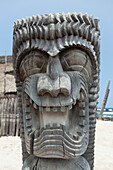 'Carving of a face in City of Refuge National Historical Park; Big Island, Hawaii, United States of America'