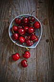 Fresh picked cherries in a bowl