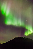 'Northern Lights in the sky above Moose Pass, with silhouetted Kenai Mountains in the foreground, Chugach National Forest; Moose Pass, Alaska, United States of America'