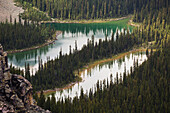 'Two small alpine lakes viewed from above; British Columbia, Canada'