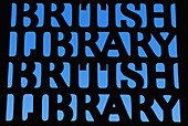 'Sign outside the British Library; London, England'