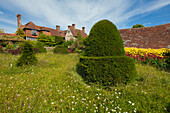 View from the Topiary Lawn to the manor house, Great Dixter Gardens, Northiam, East Sussex, Great Britain