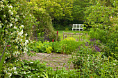 Bench in the garden, Monk's house, home of the writer Virginia Woolf, Rodmell, East Sussex, Great Britain