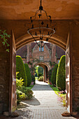Perspective from the tower to the Top Courtyard, Sissinghurst Castle Gardens, Kent, Great Britain