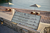 Price for entering Milocer Beach near Sveti Stefan, near Budva, Adriatic coast, Montenegro, Western Balkan, Europe, Mediterrian Sea