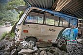 Deserted mini Bus with print of Machu Picchu, Aguas Calientes, Peru, South America, 7 New Wonders of the World