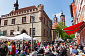 Market and old Town Hall, St. John's Church, Goettingen, Lower Saxony, Germany