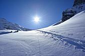 Ski track in snow, Griererkar, Zillertal, Zillertal Alps, Tyrol, Austria