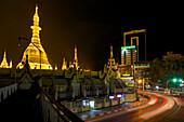 Sule Pagoda in the center of Yangon, Rangoon, capital of Myanmar, Burma