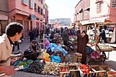 Vegetable market in the medina, Marrakech, Morocco
