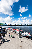 Excurstion boat on lake Binnenalster, Jungfernstieg terrace, Hamburg, Germany