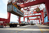 Loading of container on a truck at harbor, Port of Tianjin, Tianjin, China