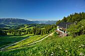 Hut Spitzsteinhaus, Kaiser Mountain Range and Zillertal Alps in background, Erl, Chiemgau Alps, Tyrol, Austria