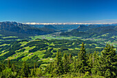 View over Inn Valley, Kaiser Mountain Range and Zillertal Alps in background, Spitzstein, Chiemgau Alps, Tyrol, Austria