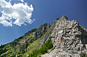 Rock ridge with signpost to Bavarian Schinder, Bavarian Prealps, Upper Bavaria, Bavaria, Germany