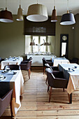 Restaurant in Le Cor de Chasse, food hotel by Michelin starred gourmet chef Mario Elias, manor house built in 1681 in Durbuy, Rue des Combattants 16, Weris, Wallonia, Belgium
