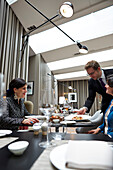 Guests in the breakfast room and restaurant 'Casual' in Das Stue Hotel, Drakestrasse 1, Tiergarten, Berlin, Germany