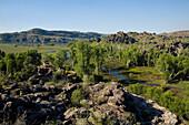 Überflutungsgebiet gesehen von einem Aussichtspunkt in Arnhem Land, welches den Aborigine Ureinwohnern gehört, Arnhem Land, Northern Territory, Australien