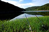 Two fishing poles standing along the shore of Edersee in Kellerwald-Edersee National Park, Lake Edersee, Hesse, Germany, Europe