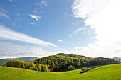 Landscape near Kellerwald forest near Frebershausen in Kellerwald-Edersee National Park, Bad Wildungen, Hesse, Germany, Europe