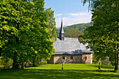 Early Gothic church of Frebershausen with old graveyard and large green trees in Kellerwald-Edersee National Park, Frebershausen, Hesse, Germany, Europe