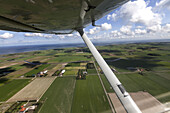 Aerial view of farms on Texel Island, North Holland, The Netherlands
