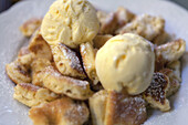 Shredded pancake, Kaiserschmarrn with vanilla ice-cream, Dessert, Food
