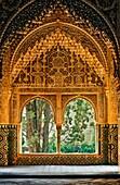 Daraxa or Lindaraja viewpoint mirador de Daraxa o Lind, raja in Aljimeces hall, Palace of the Lions, Nazaries palaces Alhambra, Granada, Andalusia, Spain