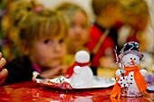 Children doing christmas crafts, Murau, Styria, Austria