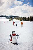 Snowman skiing, Kreischberg, Murau, Styria, Austria