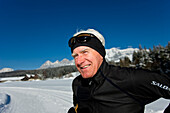 Cross-country skier smiling at camera, Styria, Austria