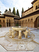 Lions fountain Courtyard of the lions, Palace of the Lions, Nazaries palaces, Alhambra, Granada, Andalusia, Spain