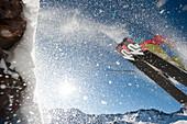 Skier in mid-air, Valle Nevado ski resort, Santiago Province, Chile
