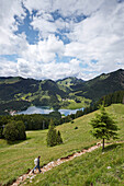 Hiking trail above the lake Spitzingsee, Bavaria, Germany