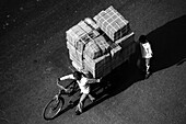Two guys with a big load on bicycle, Delhi, India