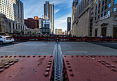 One of the 45 movable bridges in Chicago. Here photographed in the seam of the two parties that are raised for the passage of larger vessels.