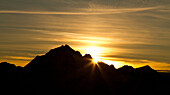 The silhouette of a peak in the sunset, Valtellina, Lombardy