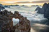 A rock's heart, on a cloud's sea, between rock walls, Dolomites, Italy